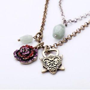 🆕️ Vintage Rhinestone Rose Charm Medley Necklace